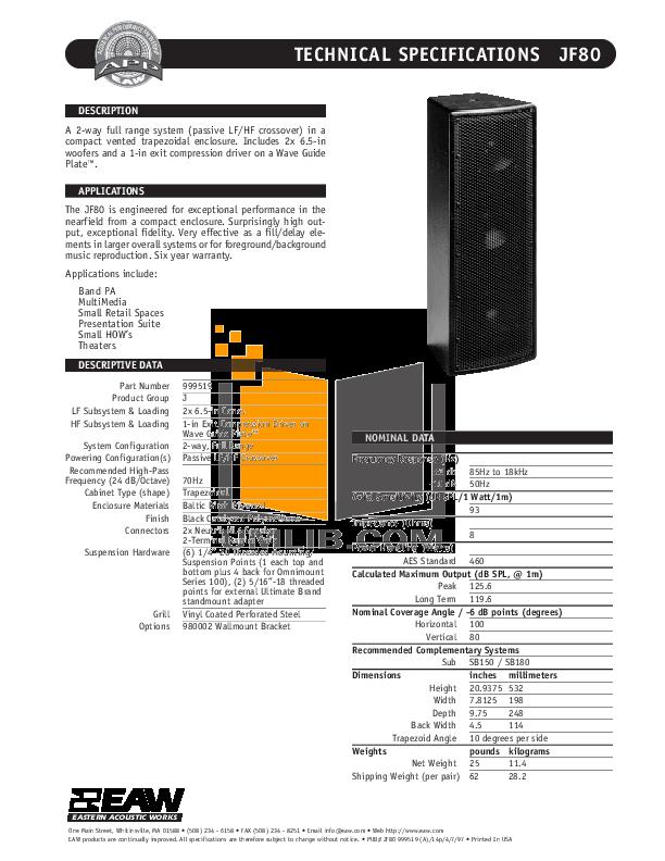 pdf for Eaw Subwoofer SB150 manual