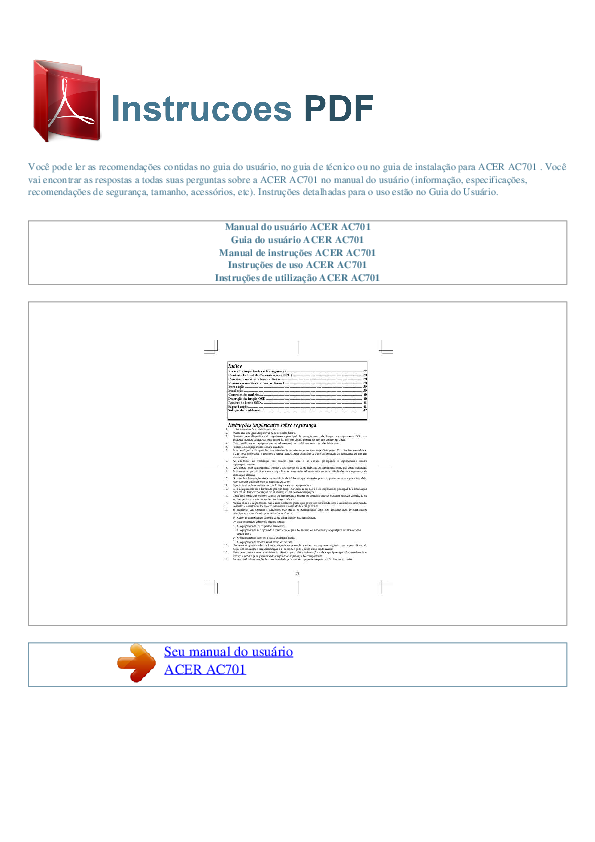 pdf for Acer Monitor AC701 manual