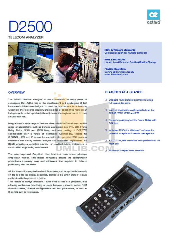 pdf for Aethra PDA D2500 manual
