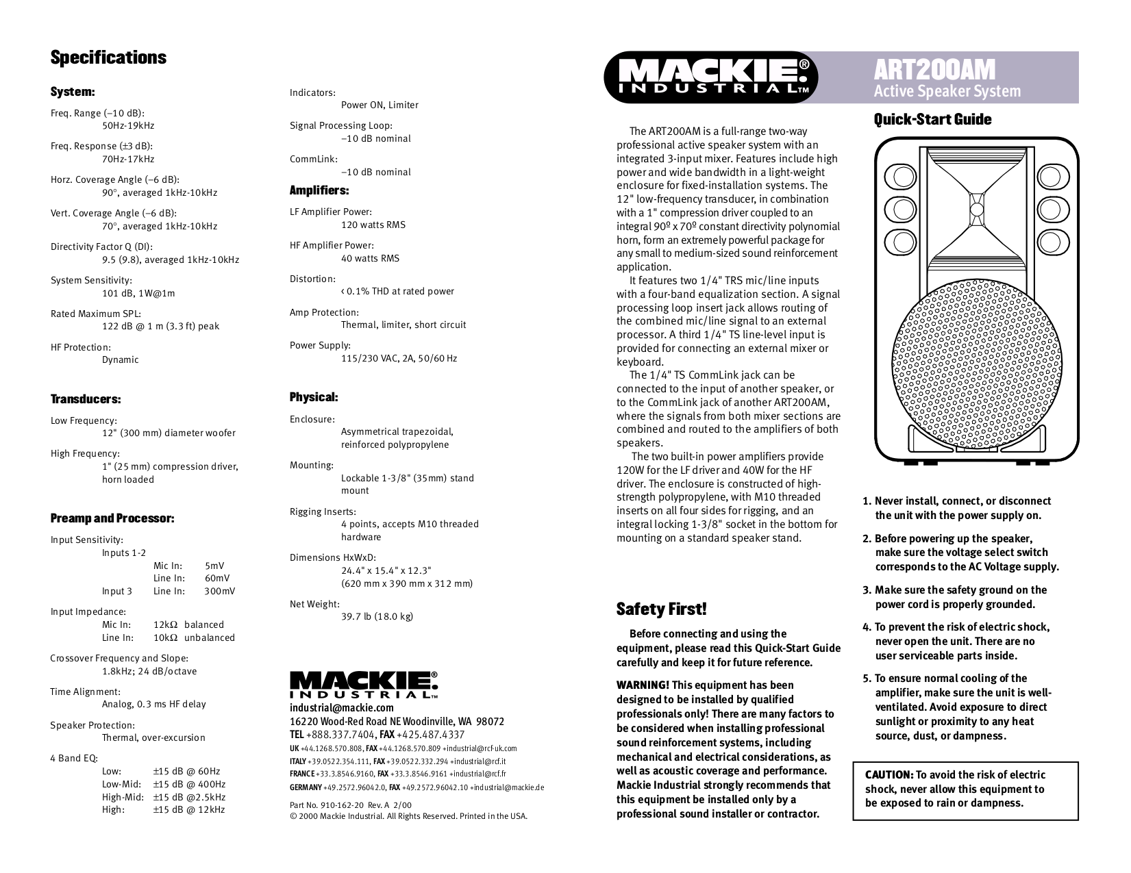 pdf for Mackie Speaker System Art Series ART200A manual