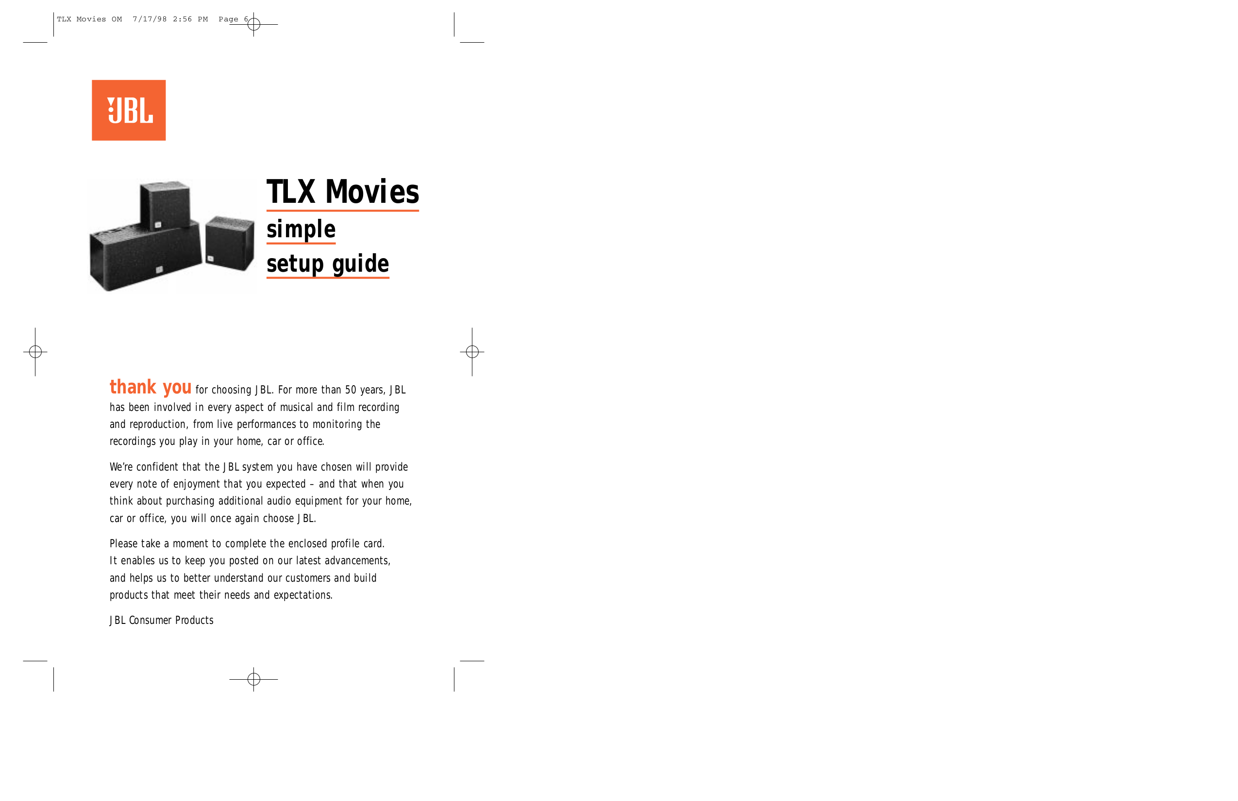 pdf for JBL Speaker System TLX MOVIES manual