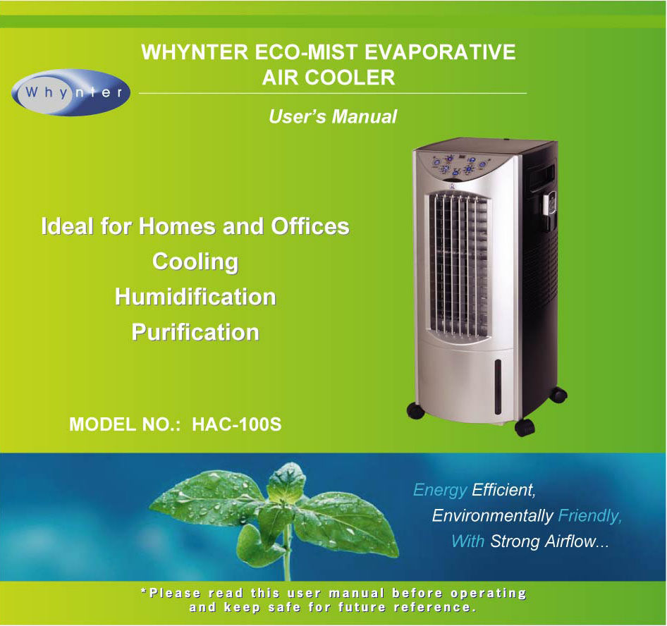 pdf for Whynter Air Conditioner HAC-100S manual
