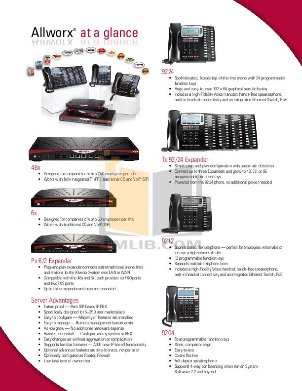 pdf for Allworx Telephone 9224 manual