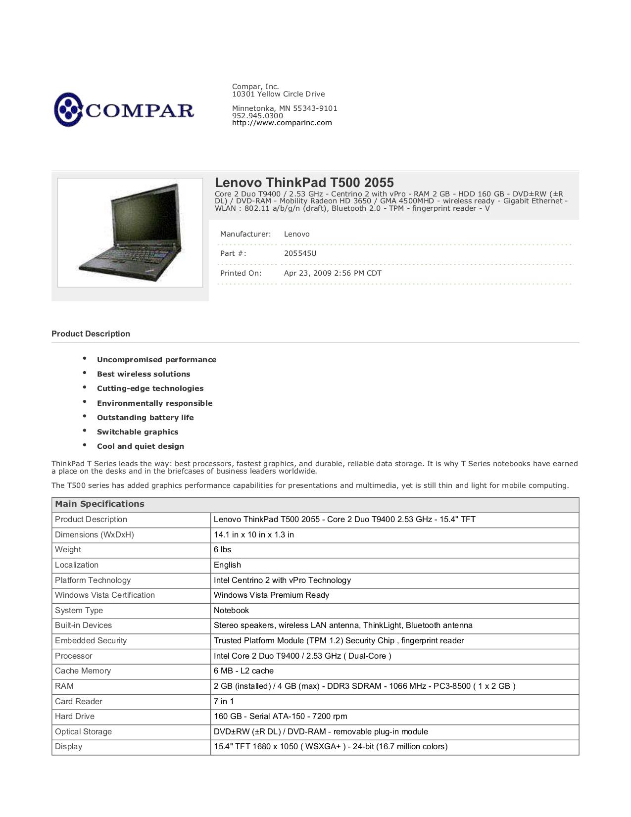 Lenovo Thinkpad t400 User manual Pdf