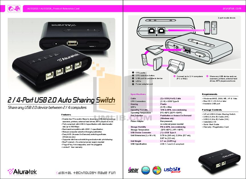 pdf for Aluratek Switch AUS0202 manual
