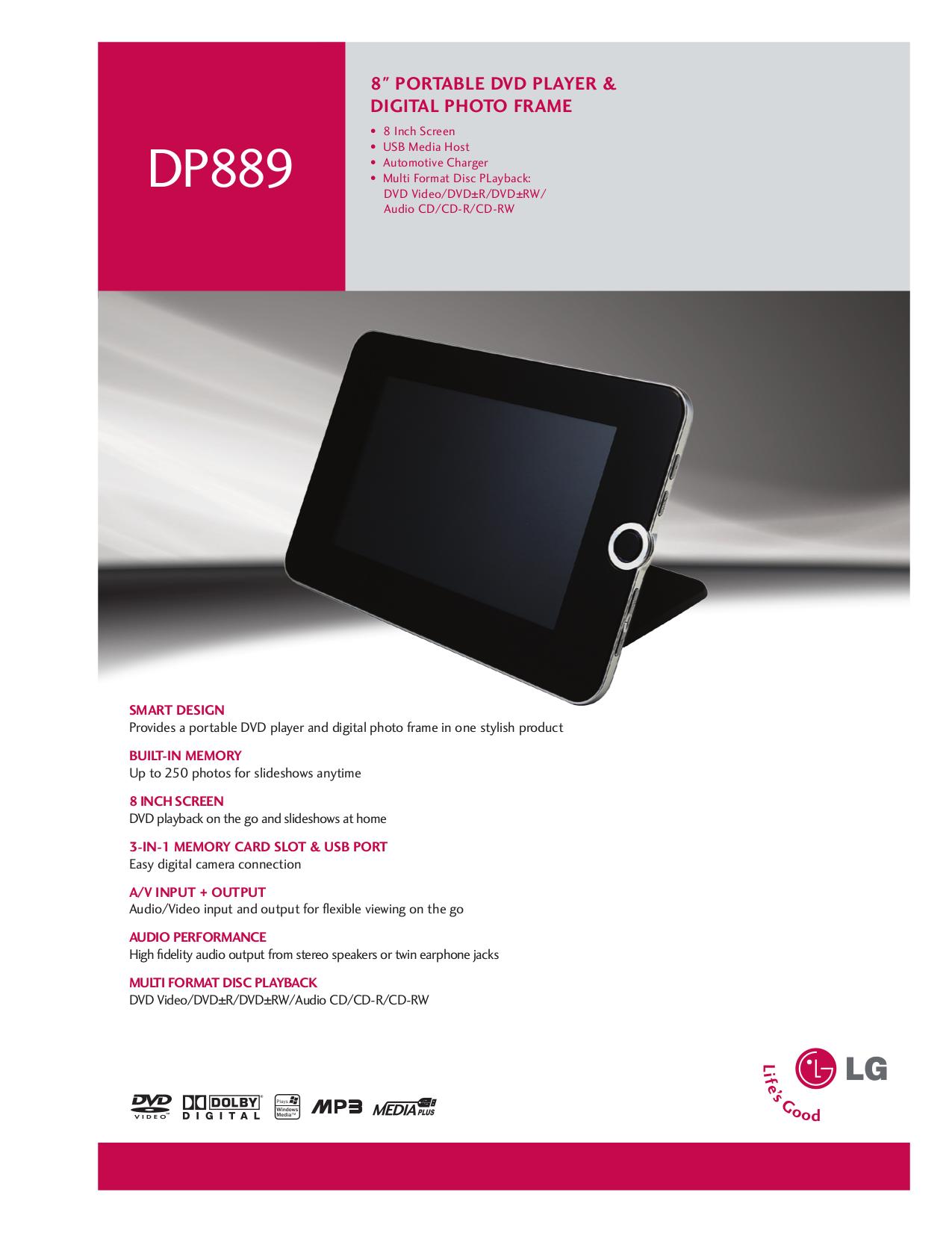 pdf for LG Portable DVD Player DP889 manual