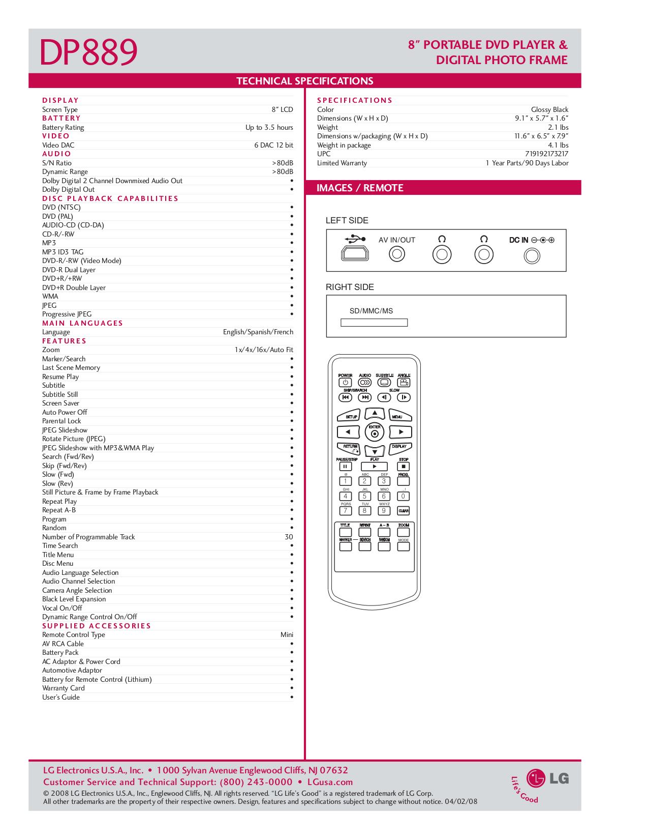 LG Portable DVD Player DP889 pdf page preview