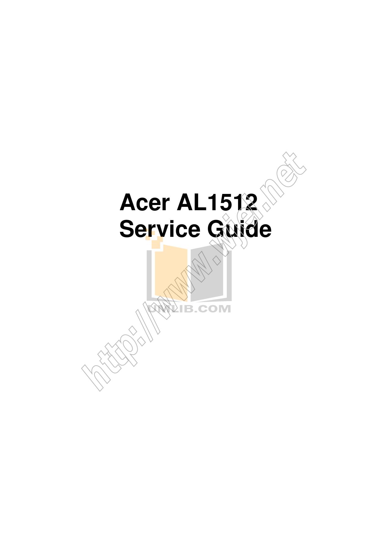 pdf for Acer Monitor AL1512m manual