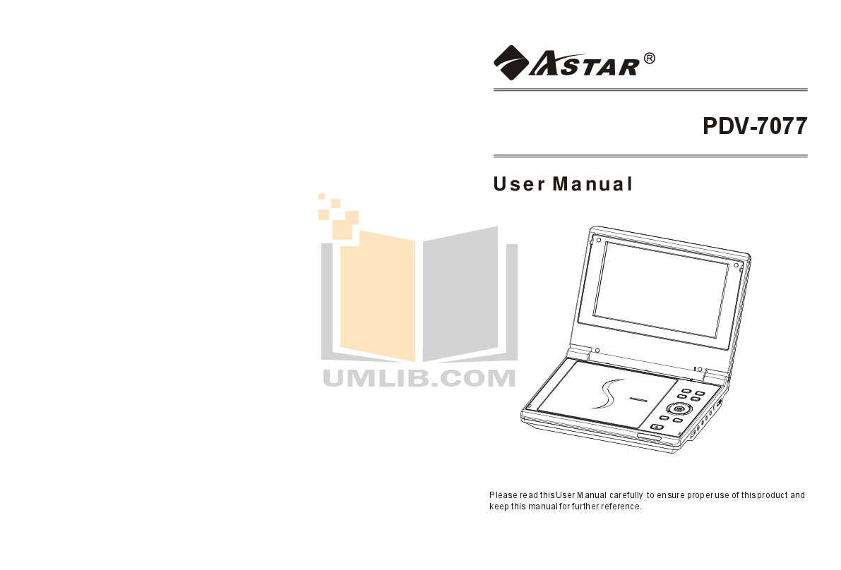 pdf for Astar Portable DVD Player PDV-7077 manual
