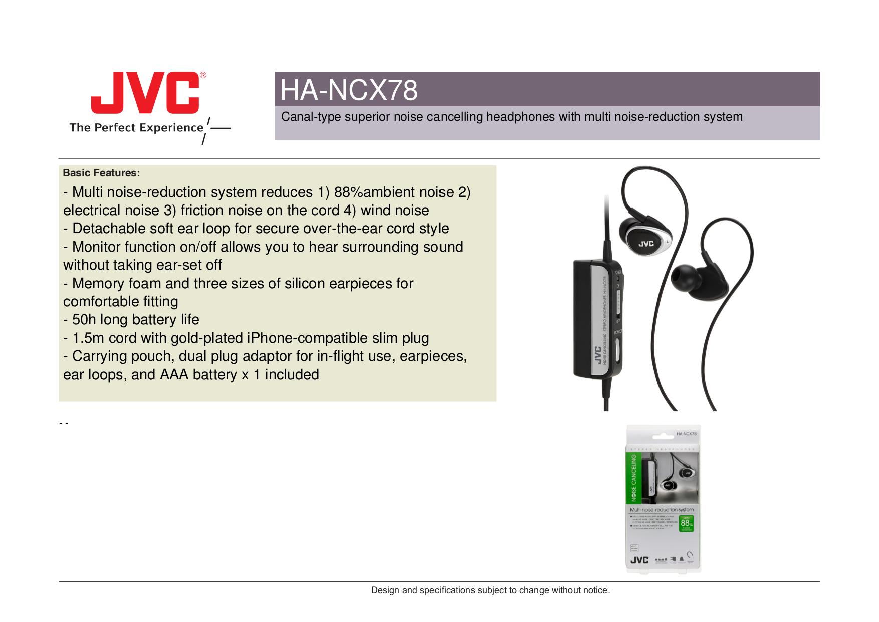 pdf for JVC Headphone HA-NCX78 manual