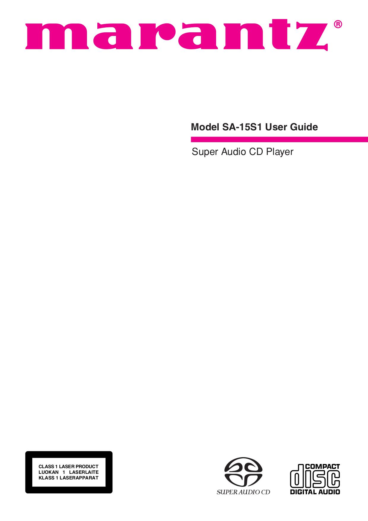 pdf for Marantz CD Player SA-15S1 manual