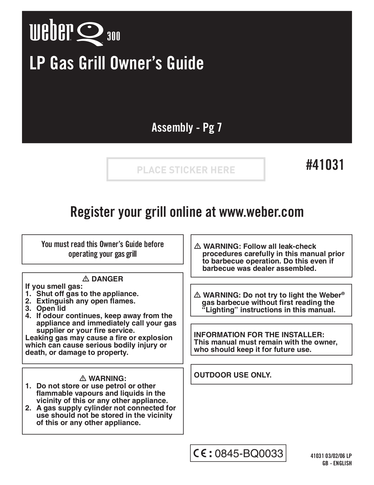 pdf for Weber Grill Performer manual