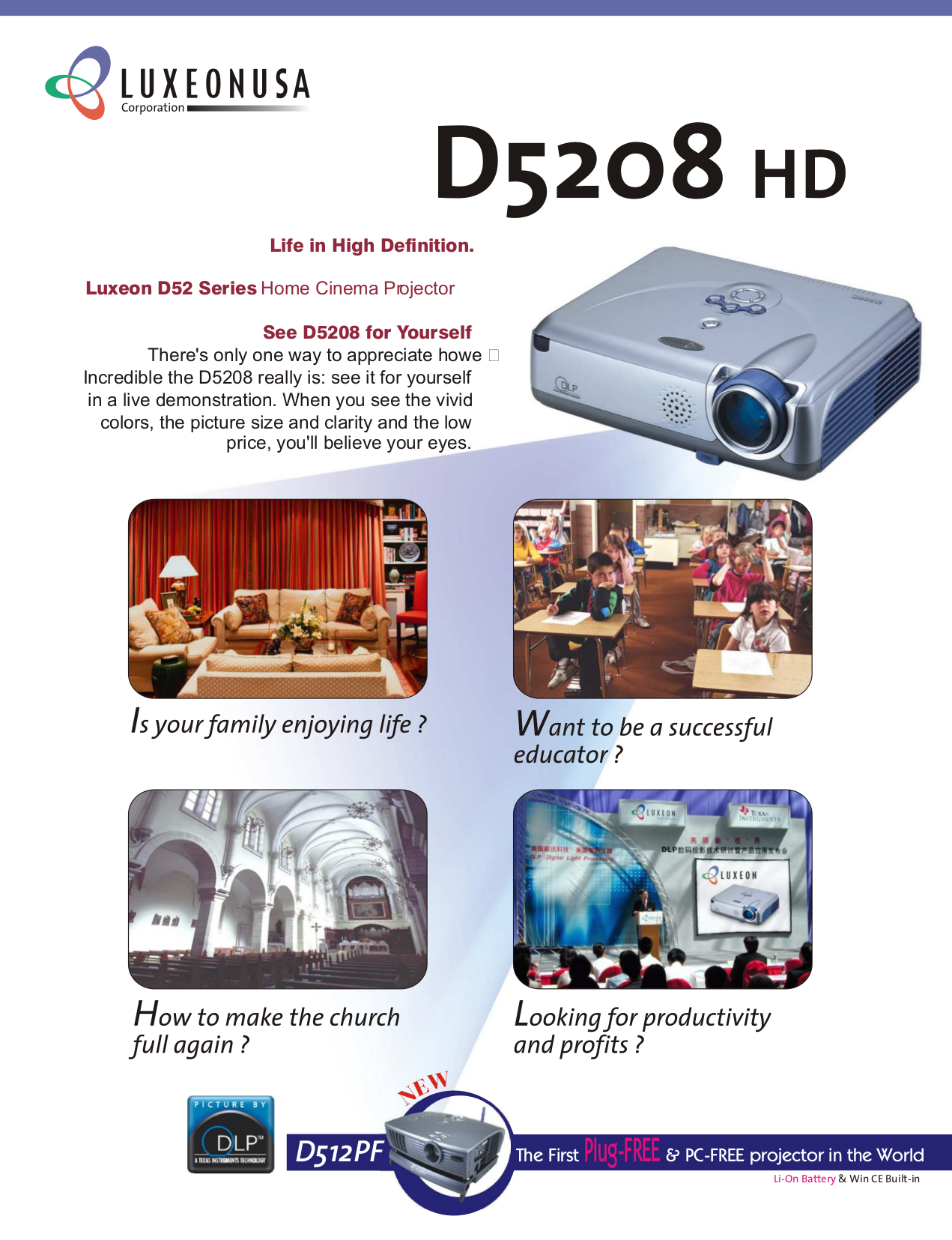 pdf for Luxeon Projector D512PF manual