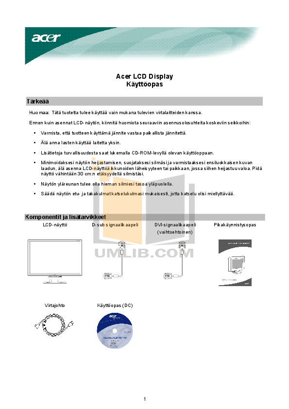 pdf for Acer Monitor AL2216W manual