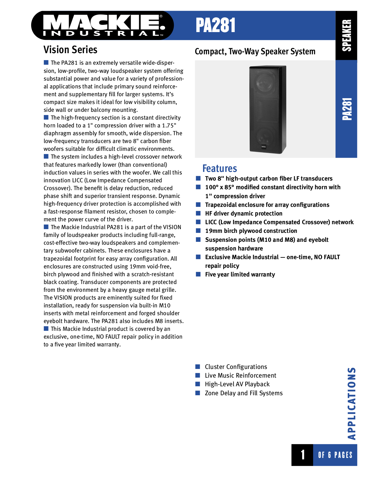 pdf for Mackie Speaker System Vision Series PA281 manual