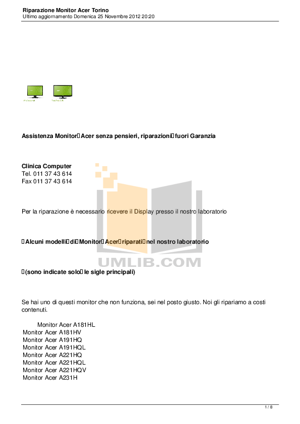 pdf for Acer Monitor AL1703 manual