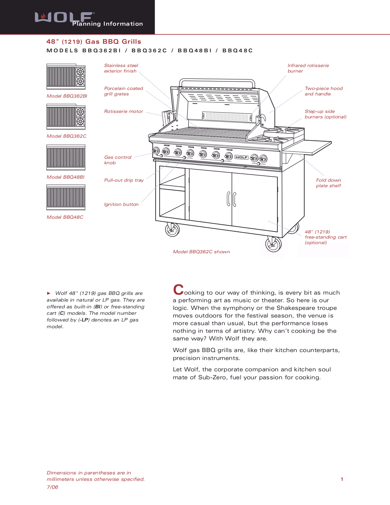 pdf for Wolf Grill BBQ362C manual