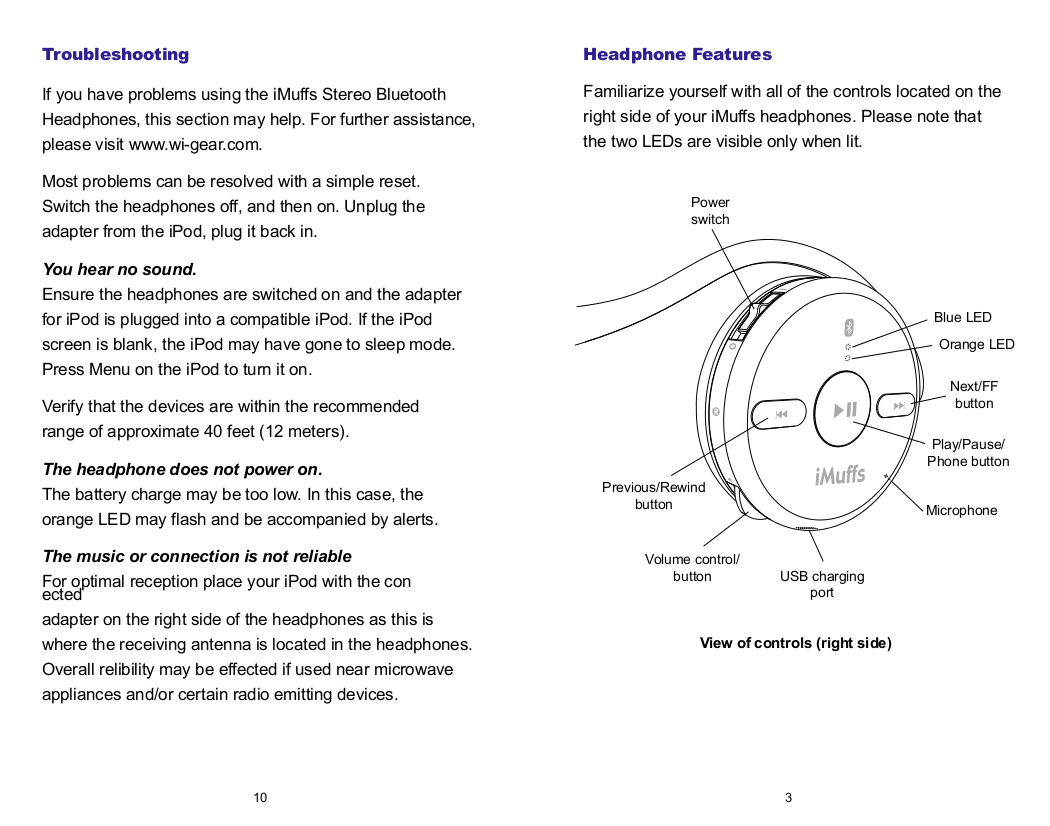 Wi-Gear Headset iMuffs MB210 pdf page preview