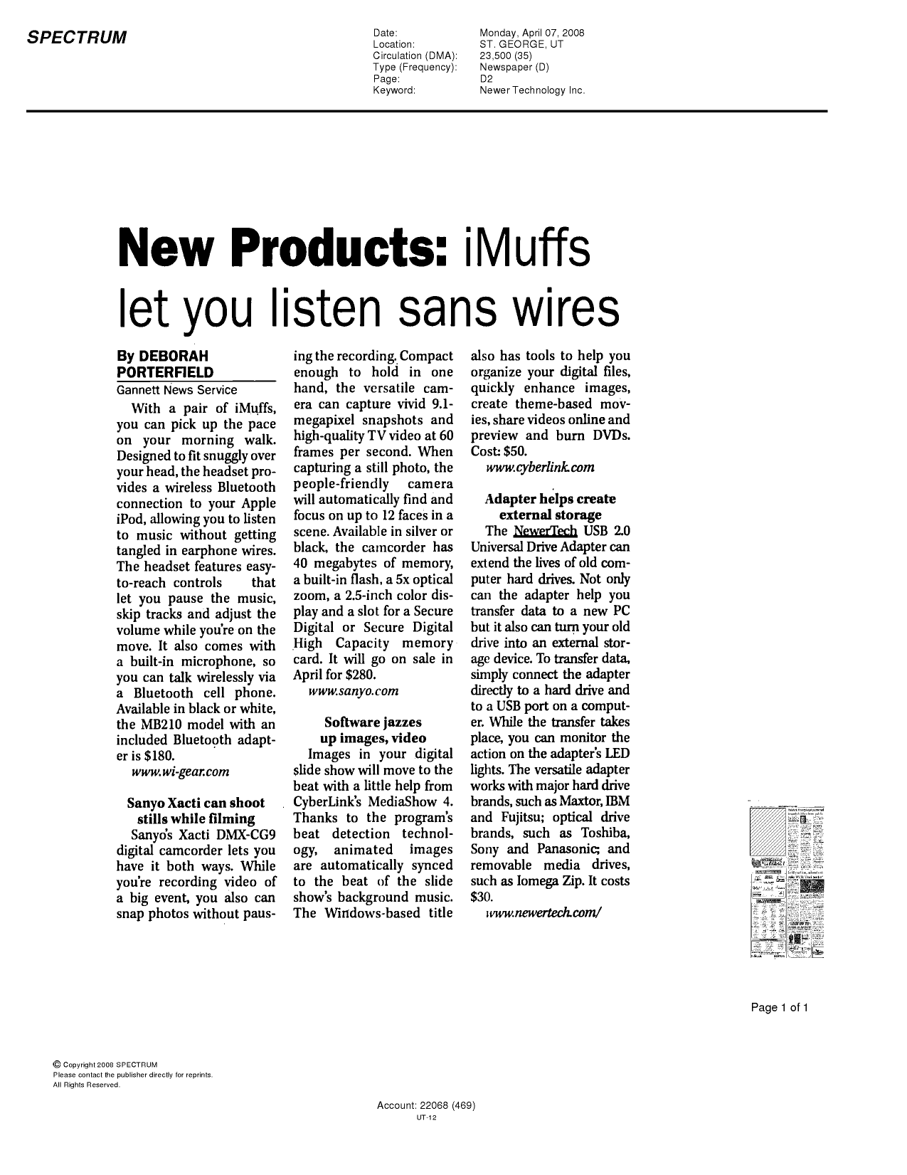 pdf for Wi-Gear Headset iMuffs MB210 manual