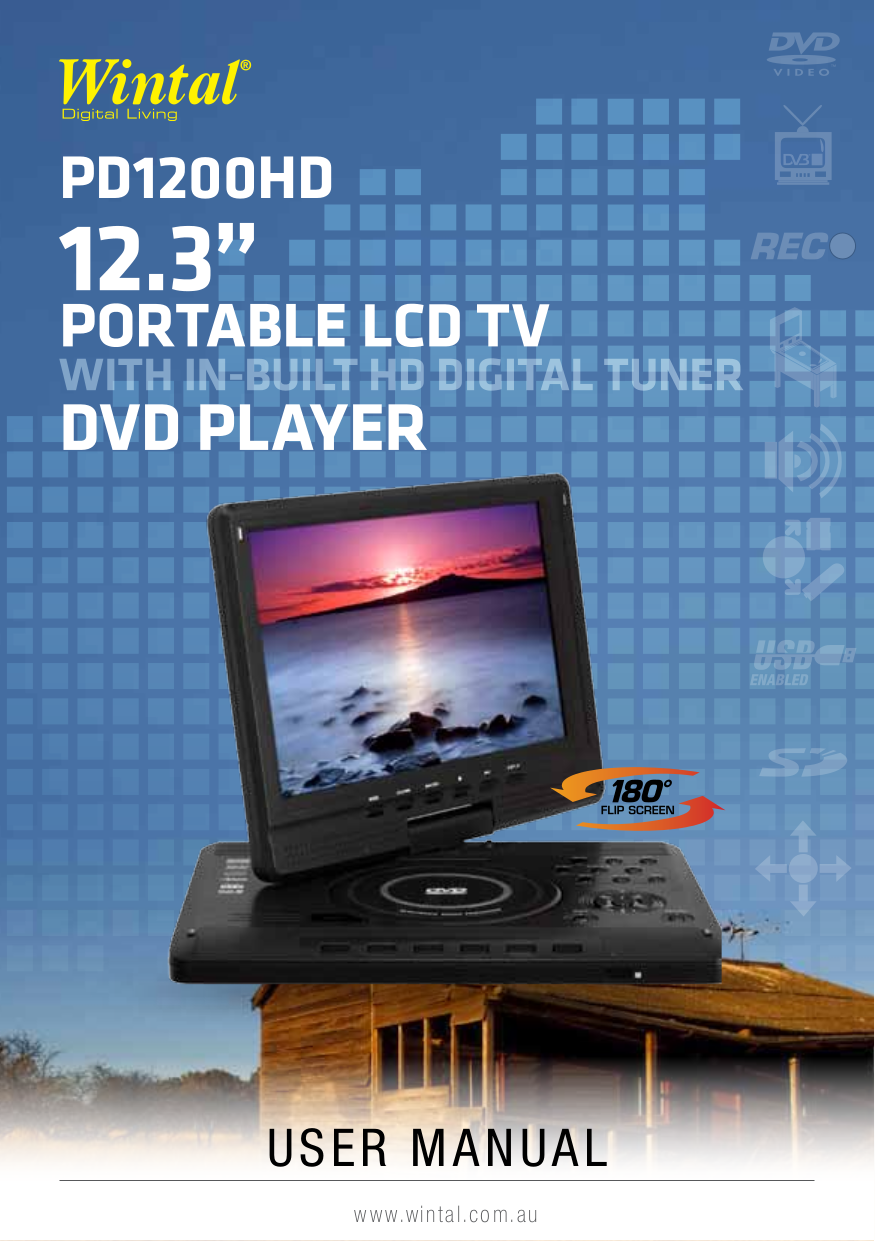 pdf for Wintal Portable DVD Player PD900 manual