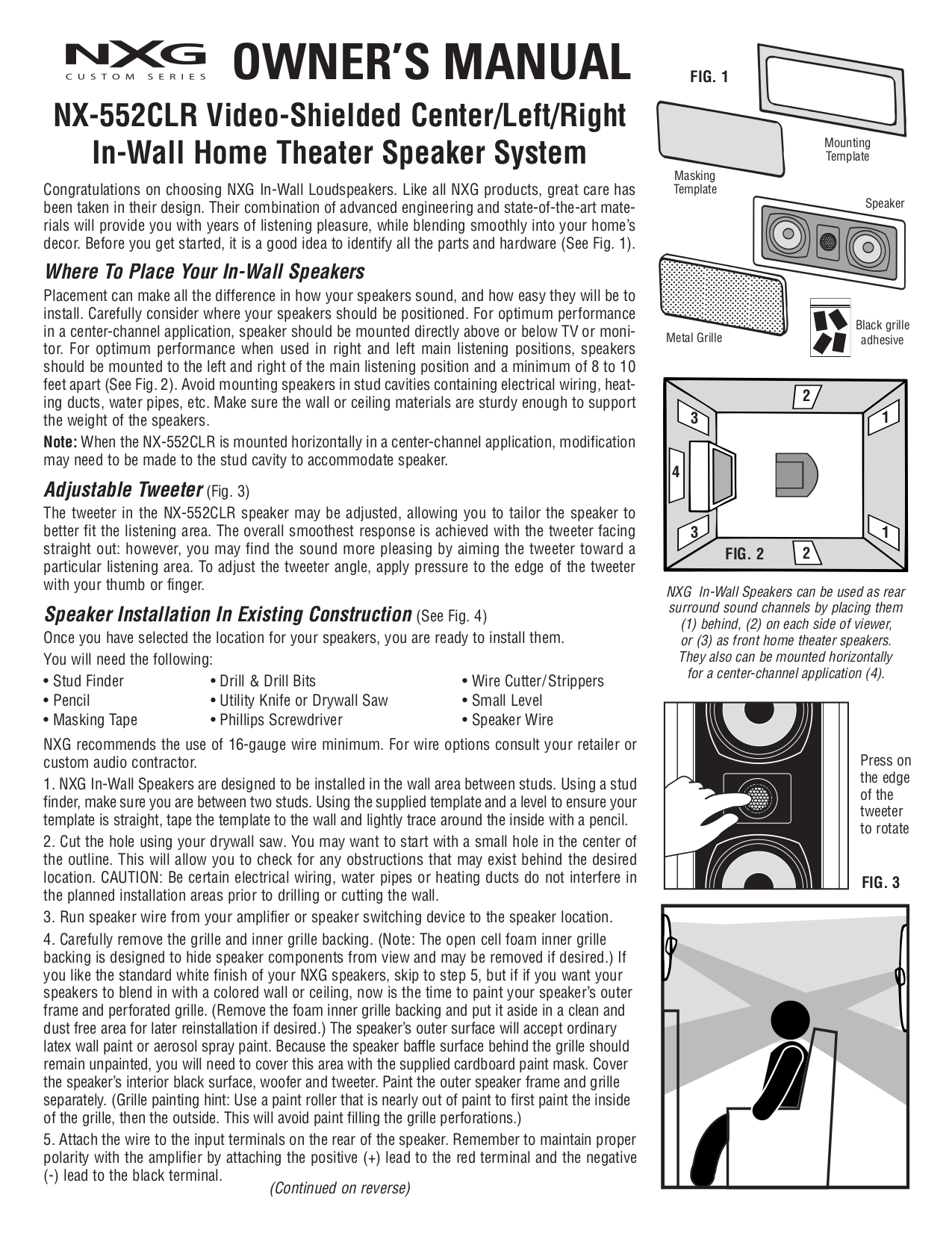 pdf for Nxg Speaker 552CLR manual