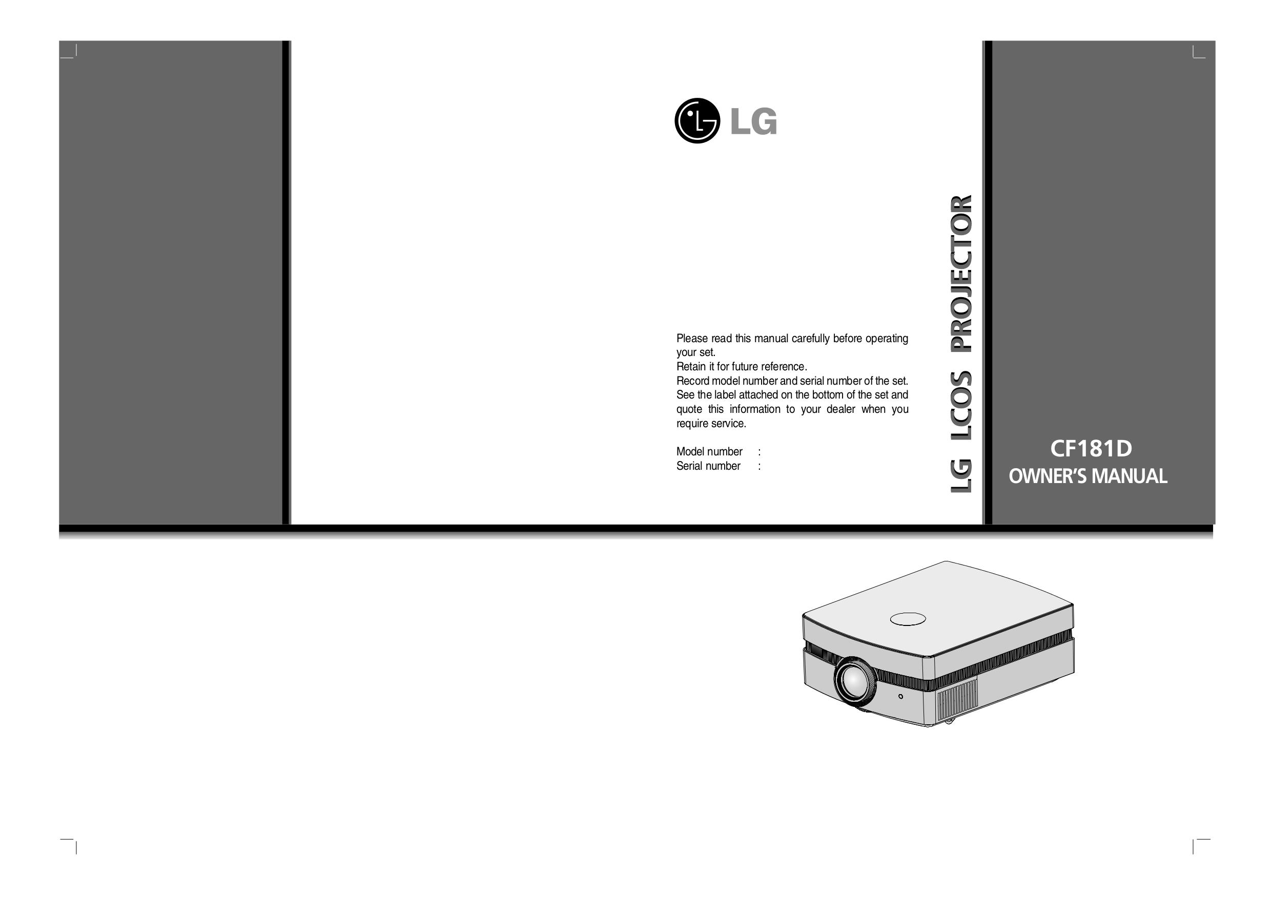 pdf for LG Projector CF181D manual