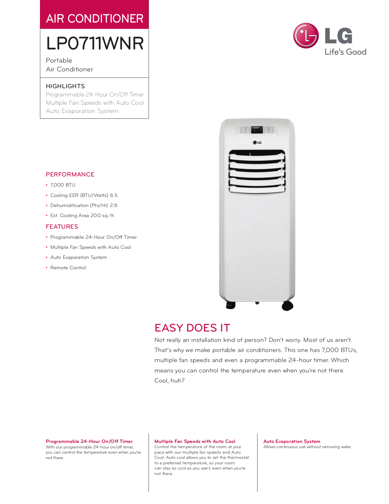 Lg Air conditioner Owner S manual