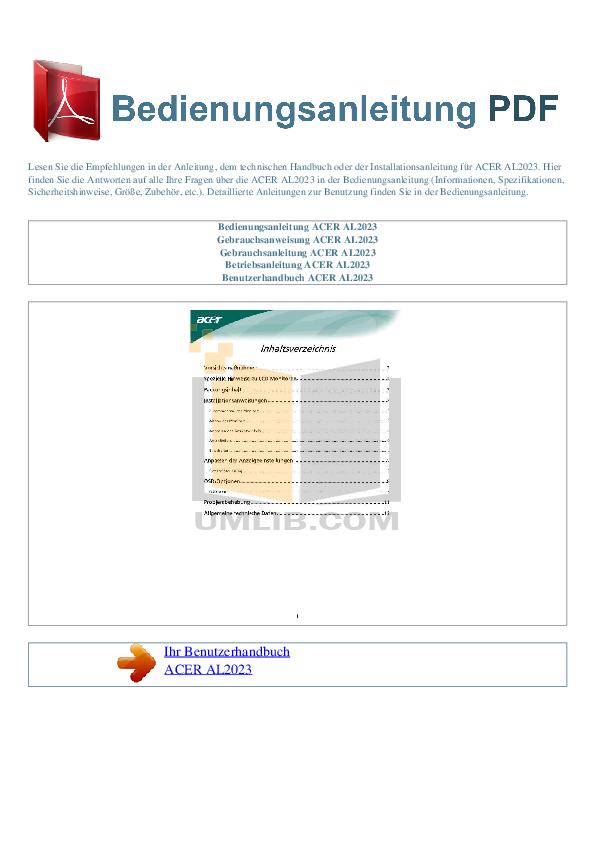 pdf for Acer Monitor AL2023 manual