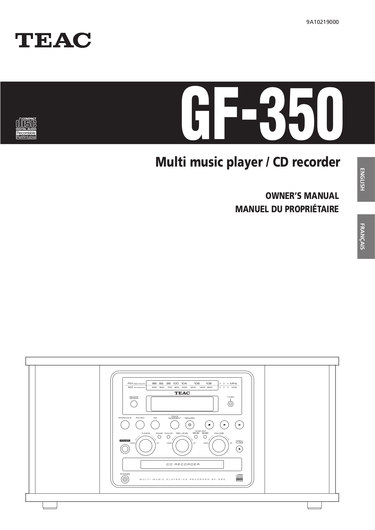 pdf for Teac Other GF-650 CD Recorders manual
