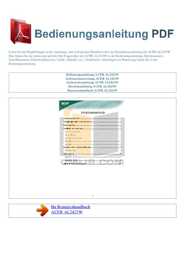 pdf for Acer Monitor AL2423 manual