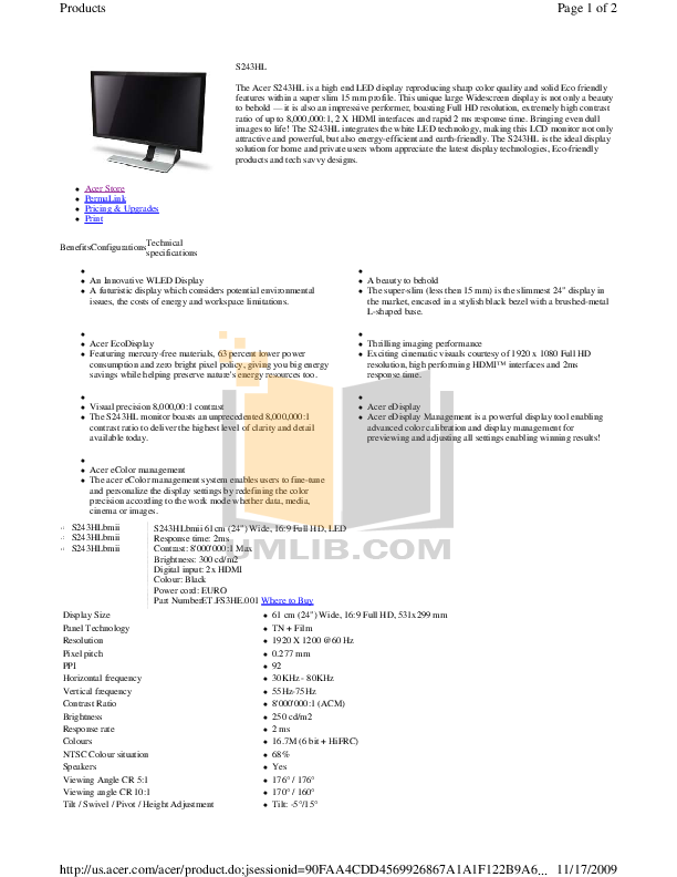 pdf for Acer Monitor S243HL manual