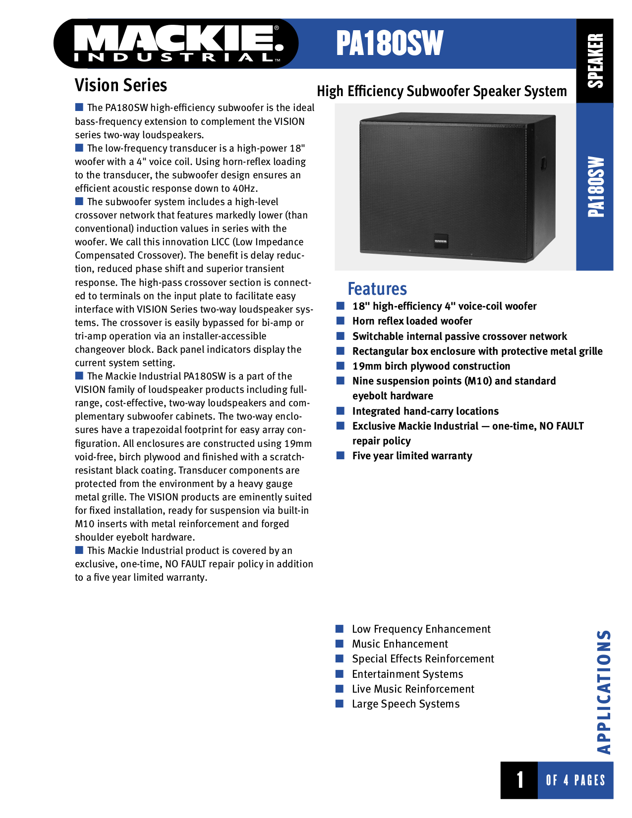 pdf for Mackie Speaker System Vision Series PA180SW manual