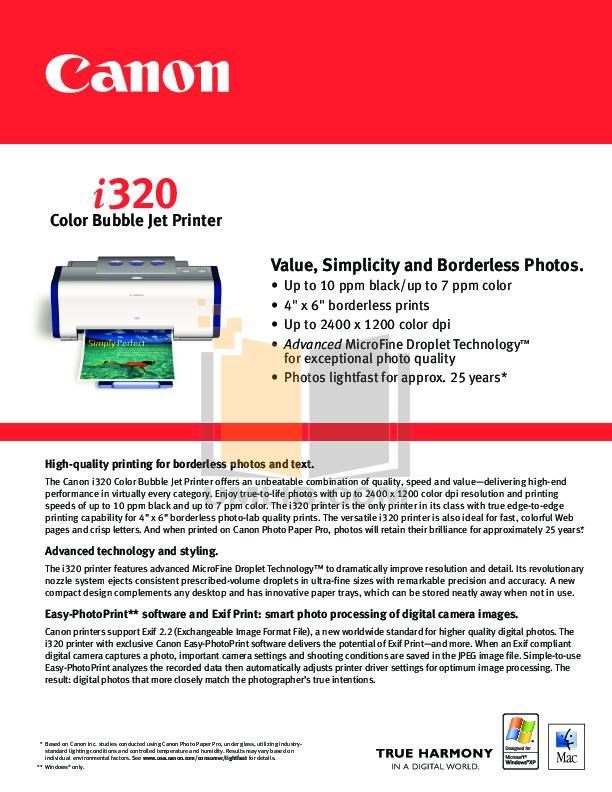 pdf for Canon Printer i320 manual