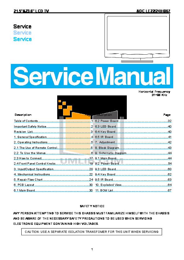 pdf for AOC TV LE24H067 manual