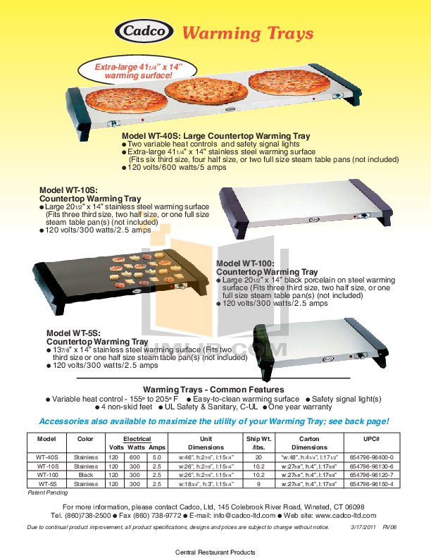 pdf for Cadco Other WT-100 Warming Trays manual