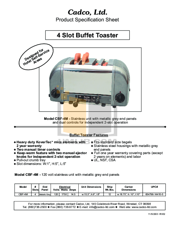 pdf for Cadco Other CBF-4M Toasters manual