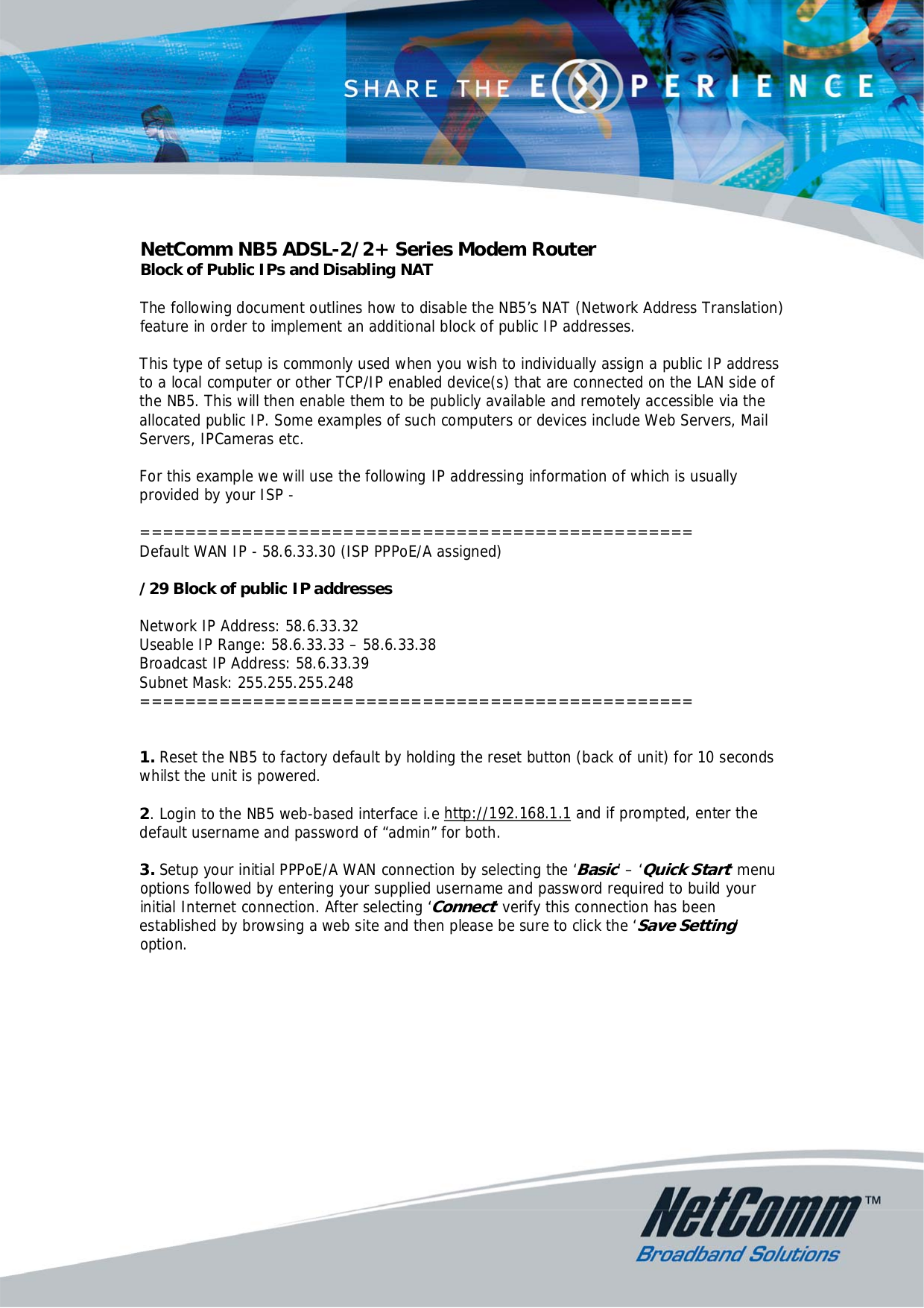 pdf for Netcomm Router NB5Plus4W manual