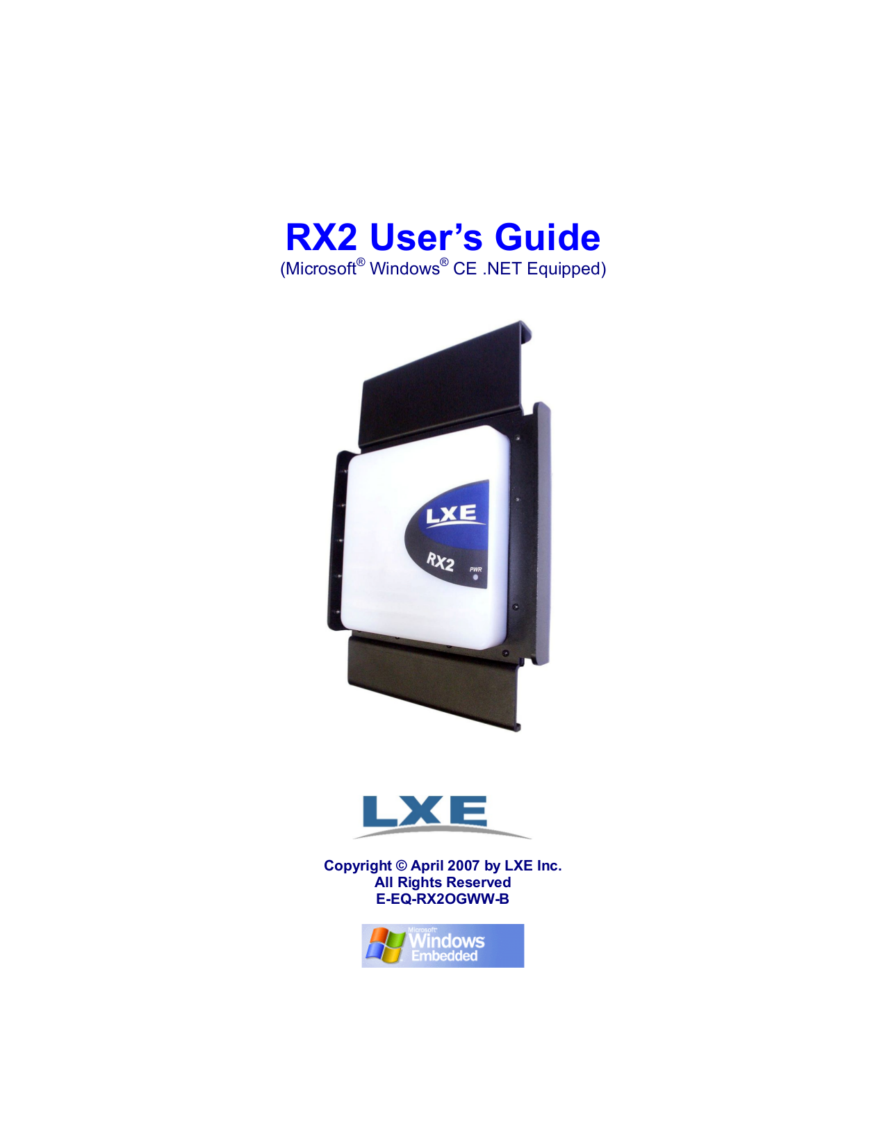 pdf for LXE Scanner RX2 manual