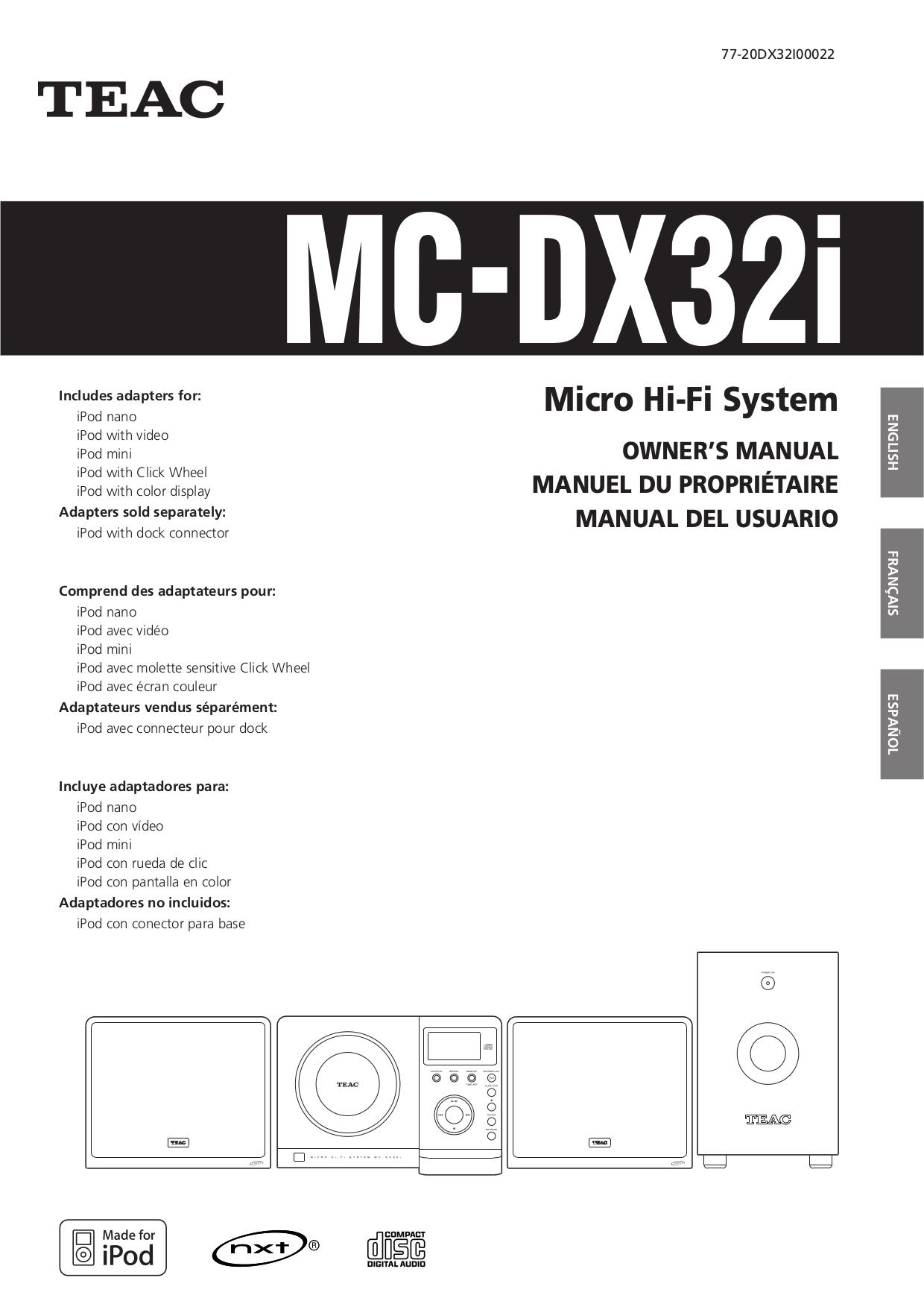 pdf for Teac Other MC-DX32I Hi-Fi System manual
