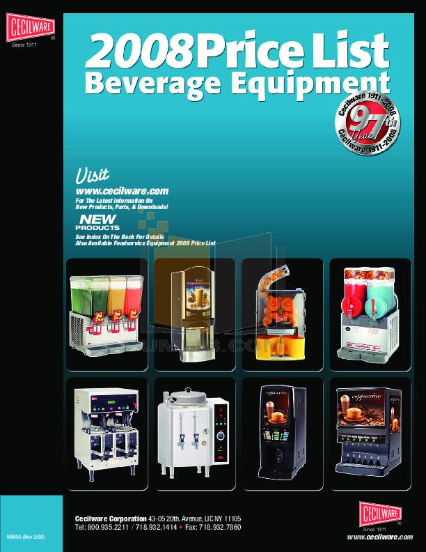 pdf for Cecilware Coffee Maker C2002P manual