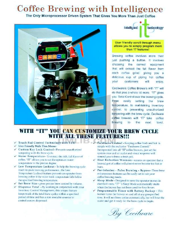 pdf for Cecilware Coffee Maker BC301E manual