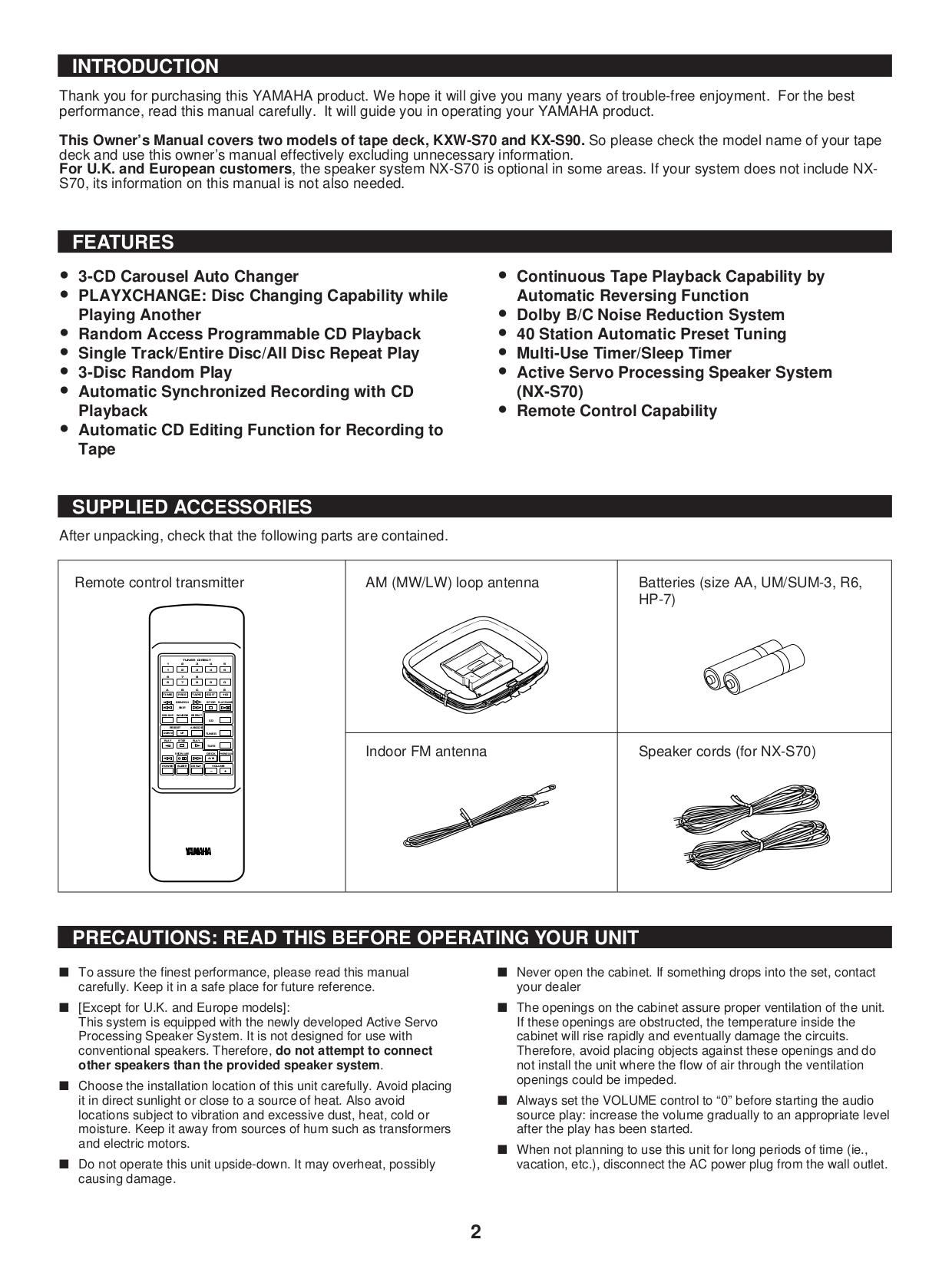 NAD Remote Control S70 pdf page preview