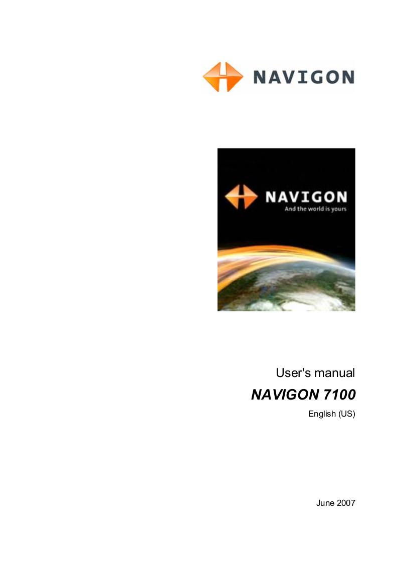 pdf for Navigon GPS 7100 manual