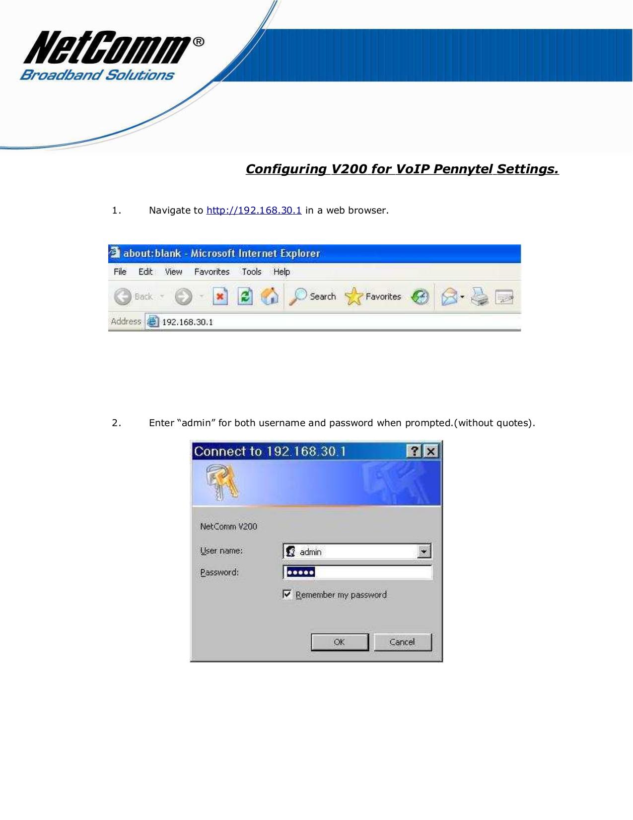 pdf for Netcomm Router V200 manual