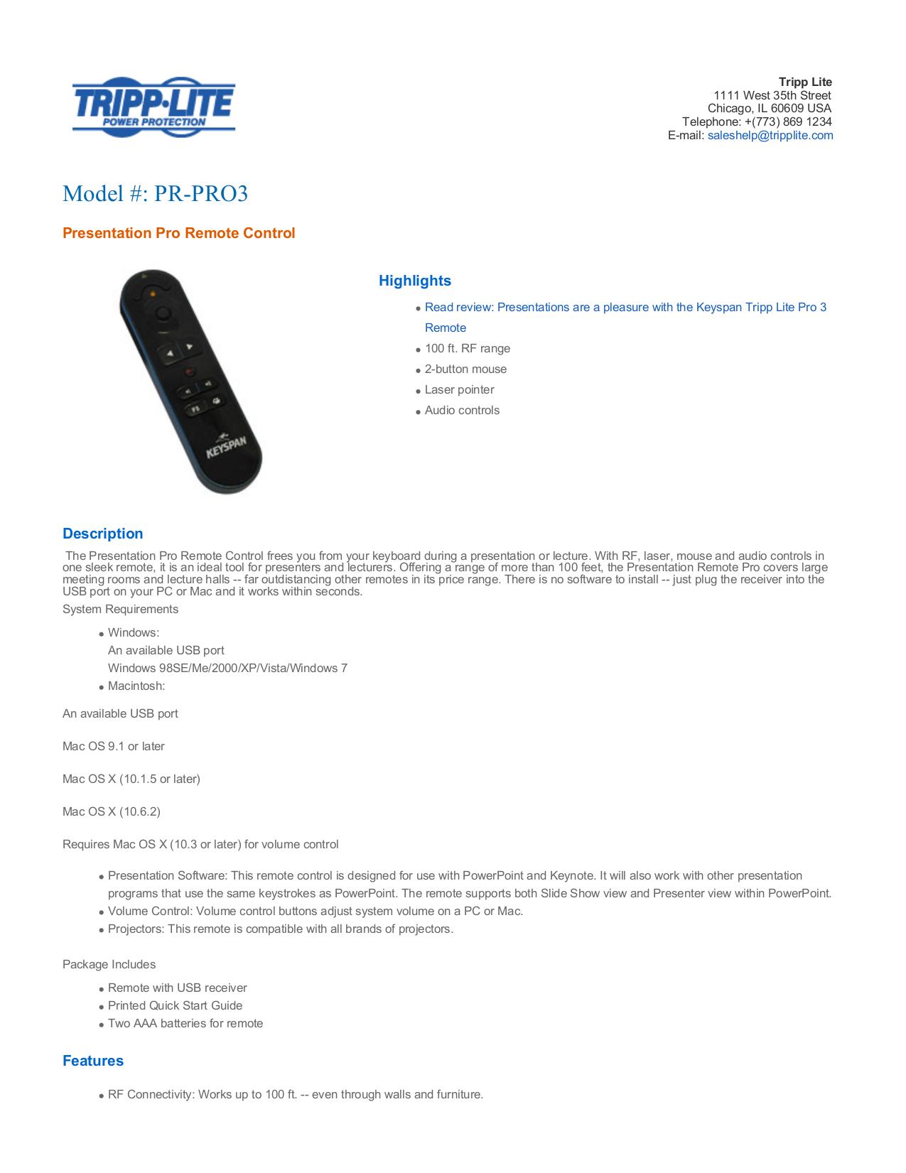pdf for Keyspan Other PR-EZ1 Remote Control manual