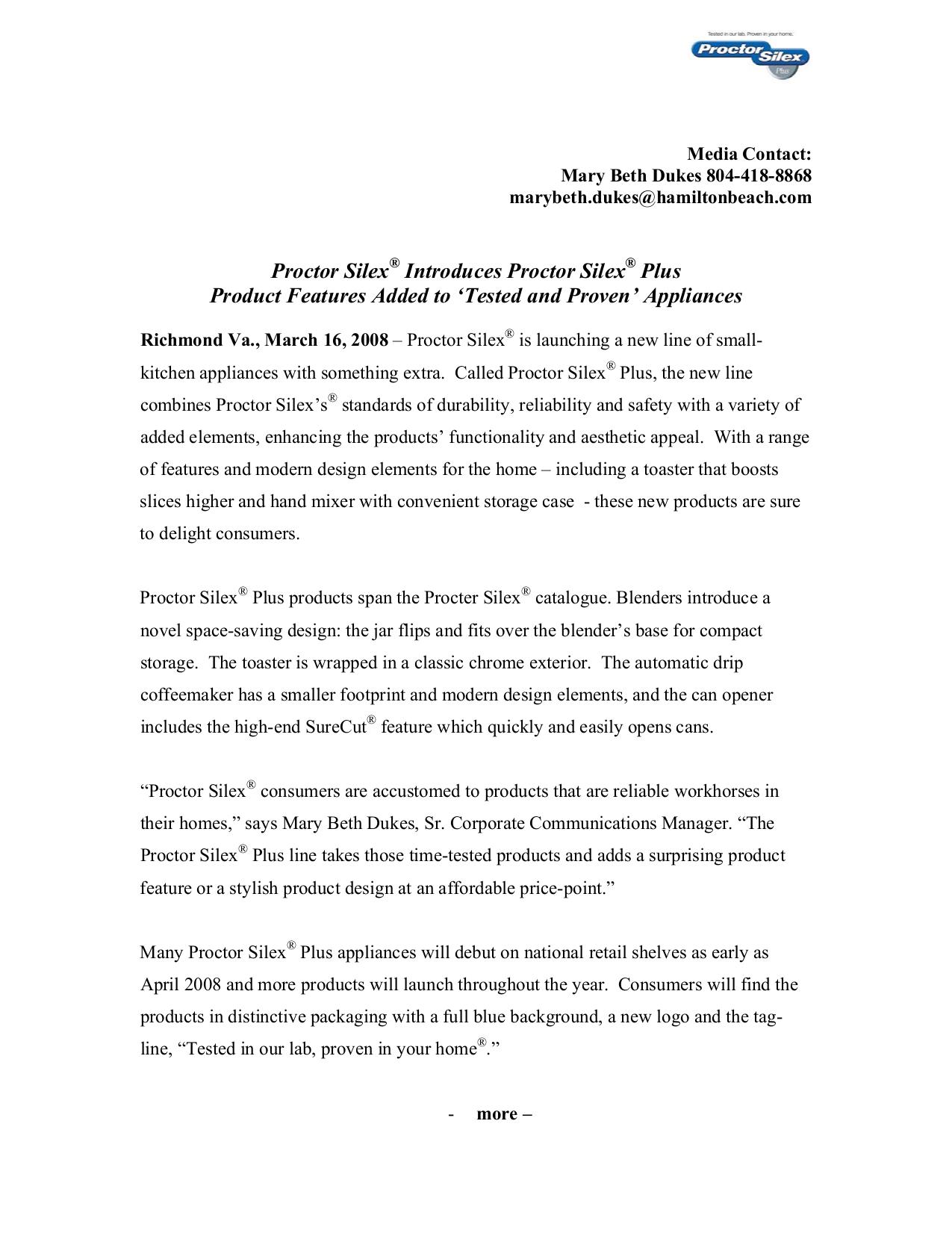 pdf for ProctorSilex Blender 58130PH manual