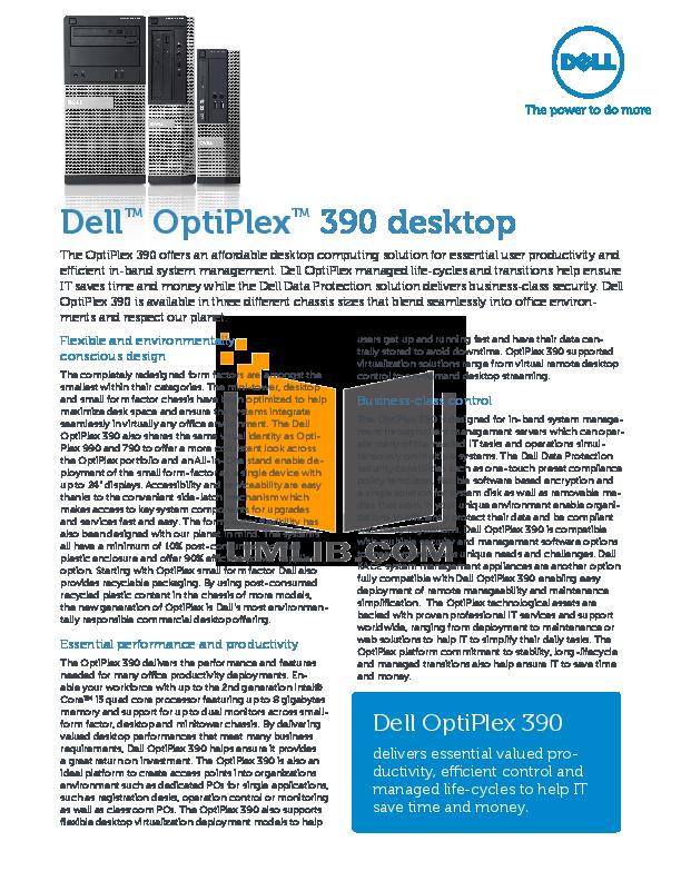 Dell Optiplex 360 manual Pdf