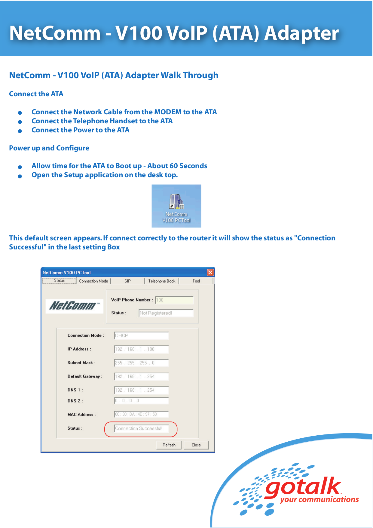 pdf for Netcomm Router V100 manual