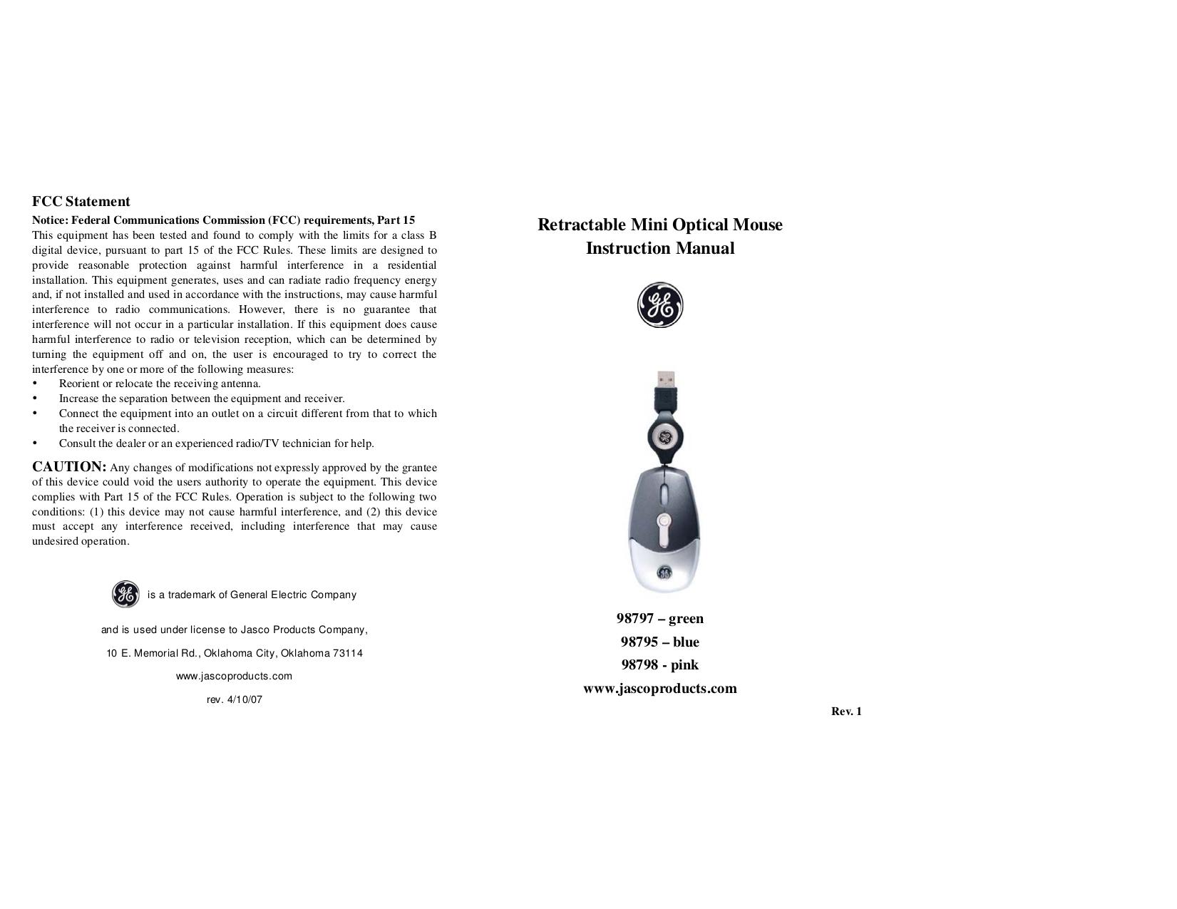 pdf for Jasco Mouse 98797 manual