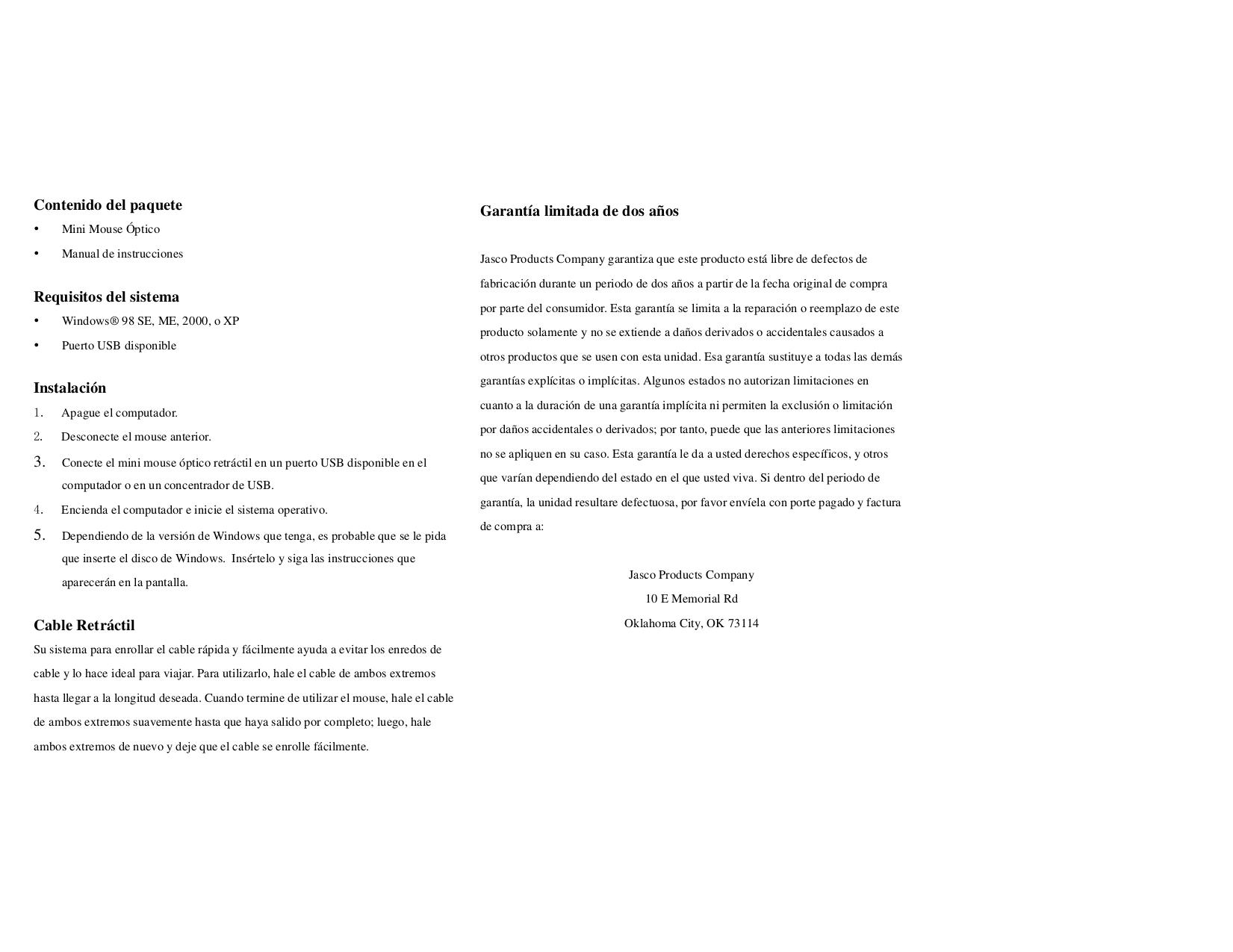 Jasco Mouse 98797 pdf page preview